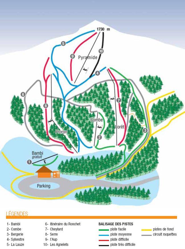 Схема трасс горнолыжного курорта Вальдром