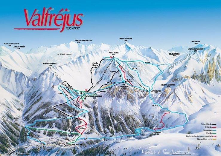Схема трасс горнолыжного курорта Вальфрежюс