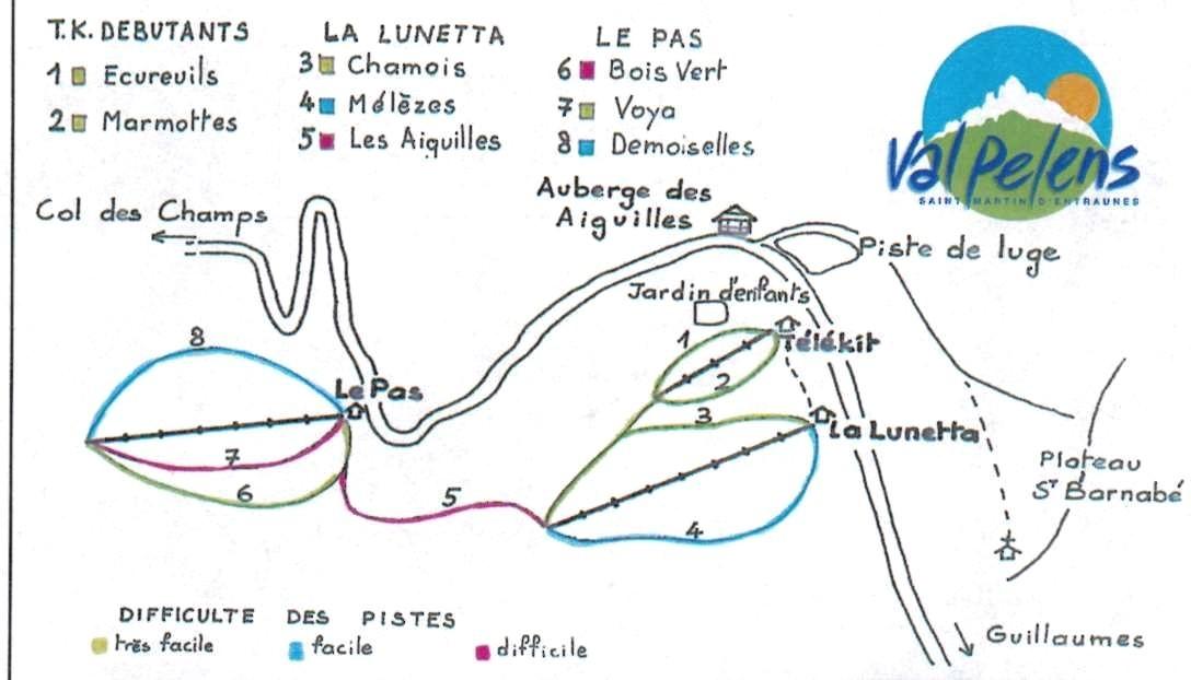 Схема трасс горнолыжного курорта Валь Пелен