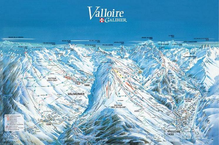 Схема трасс горнолыжного курорта Валлуар
