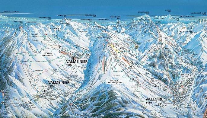 Схема трасс горнолыжного курорта Вальменье