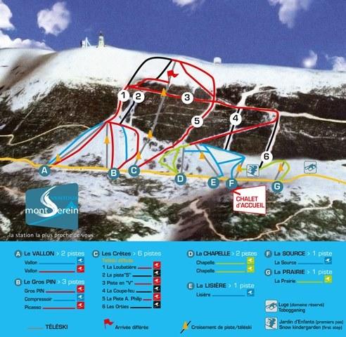 Схема трасс горнолыжного курорта Ванту - Мон Серен