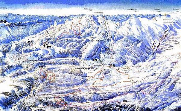 Схема трасс горнолыжного курорта Виллар де Ланс
