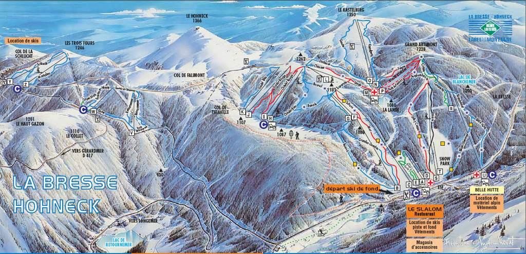 Схема трасс горнолыжного курорта Ла Бресс   Онек
