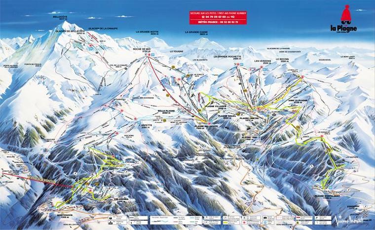 Схема трасс горнолыжного курорта Ла Плань