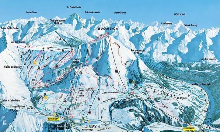 Схема трасс горнолыжного курорта Ле Гран Борнан
