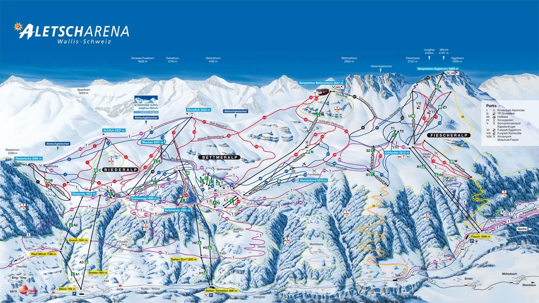 Схема трасс горнолыжного курорта Алеч Арена