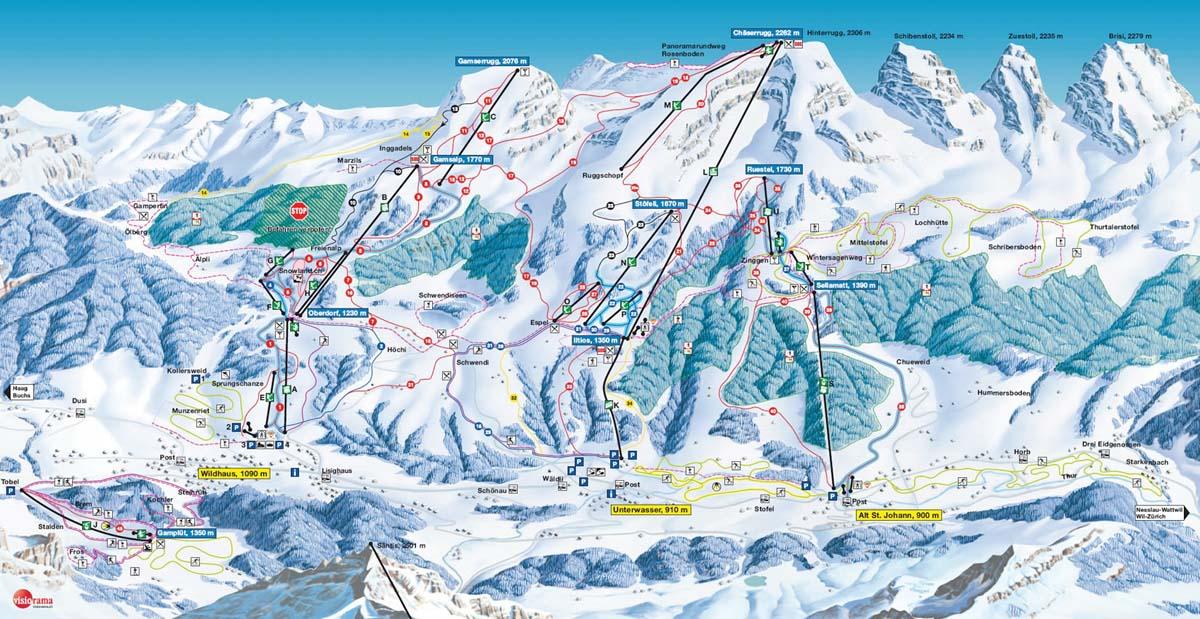 Схема трасс горнолыжного курорта Альт Санкт Йохан - Тоггенбург