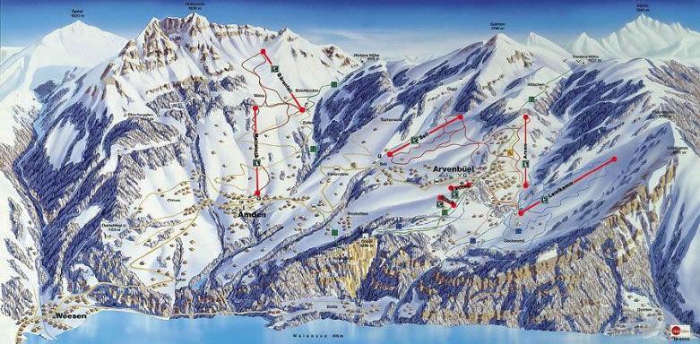Схема трасс горнолыжного курорта Амден