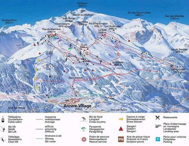 Схема трасс горнолыжного курорта Анзер