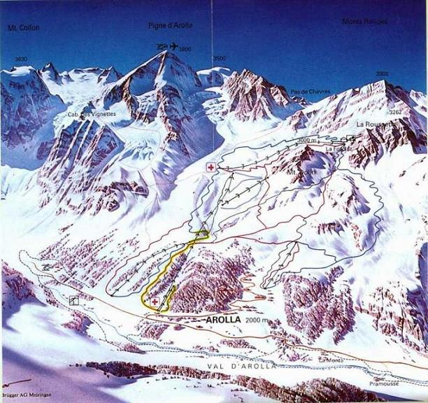 Схема трасс горнолыжного курорта Аролла