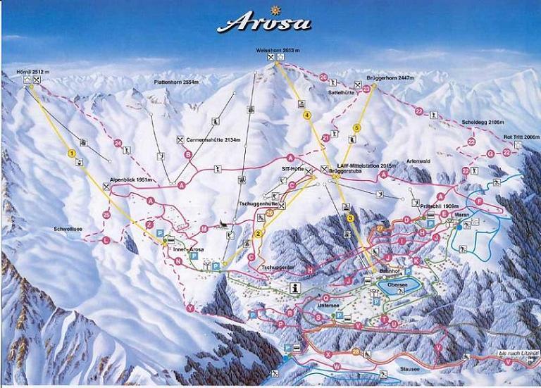 Схема трасс горнолыжного курорта Ароза Ленцерхайде