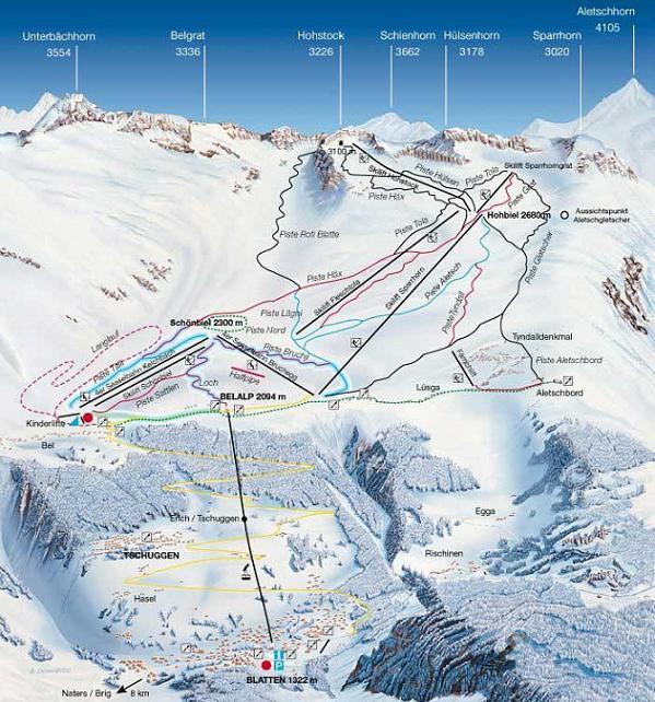 Схема трасс горнолыжного курорта Виколунго