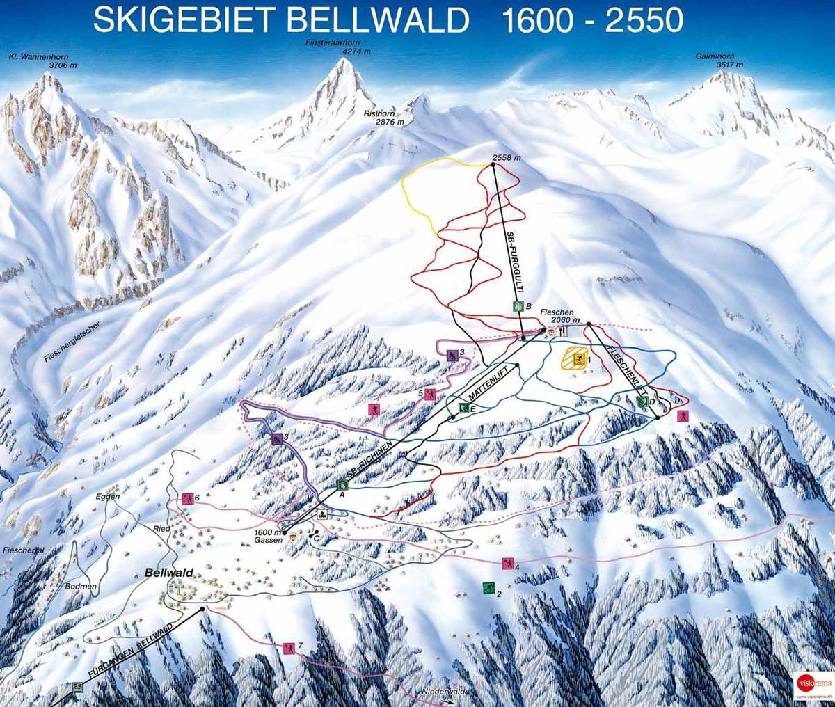 Схема трасс горнолыжного курорта Бельвальд