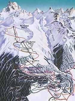 Схема трасс горнолыжного курорта Бергюн - Бравюон