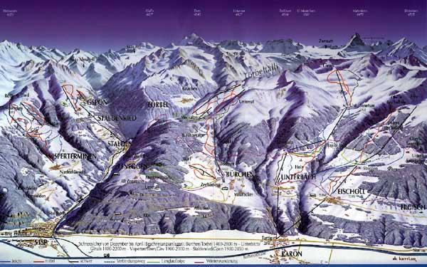 Схема трасс горнолыжного курорта  Бюрхен - Торбел