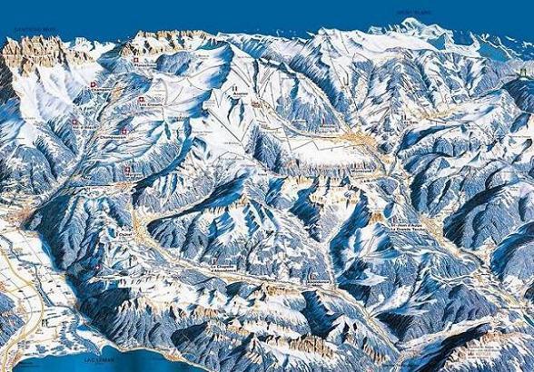 Схема трасс горнолыжного курорта Шампери