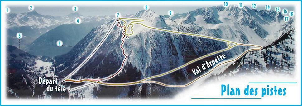 Схема трасс горнолыжного курорта Шампе - Лак