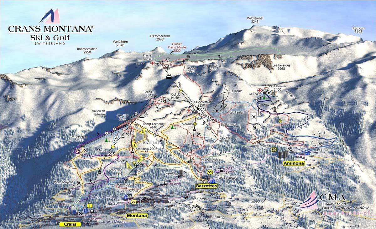 Схема трасс горнолыжного курорта Кран Монтана