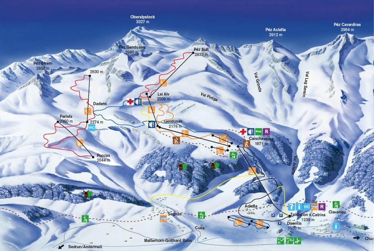 Схема трасс горнолыжного курорта Дизентис 3000