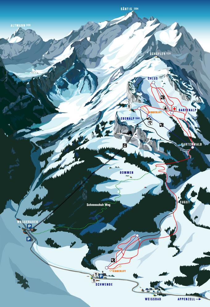 Схема трасс горнолыжного курорта Эбенальп - Аппенцелль