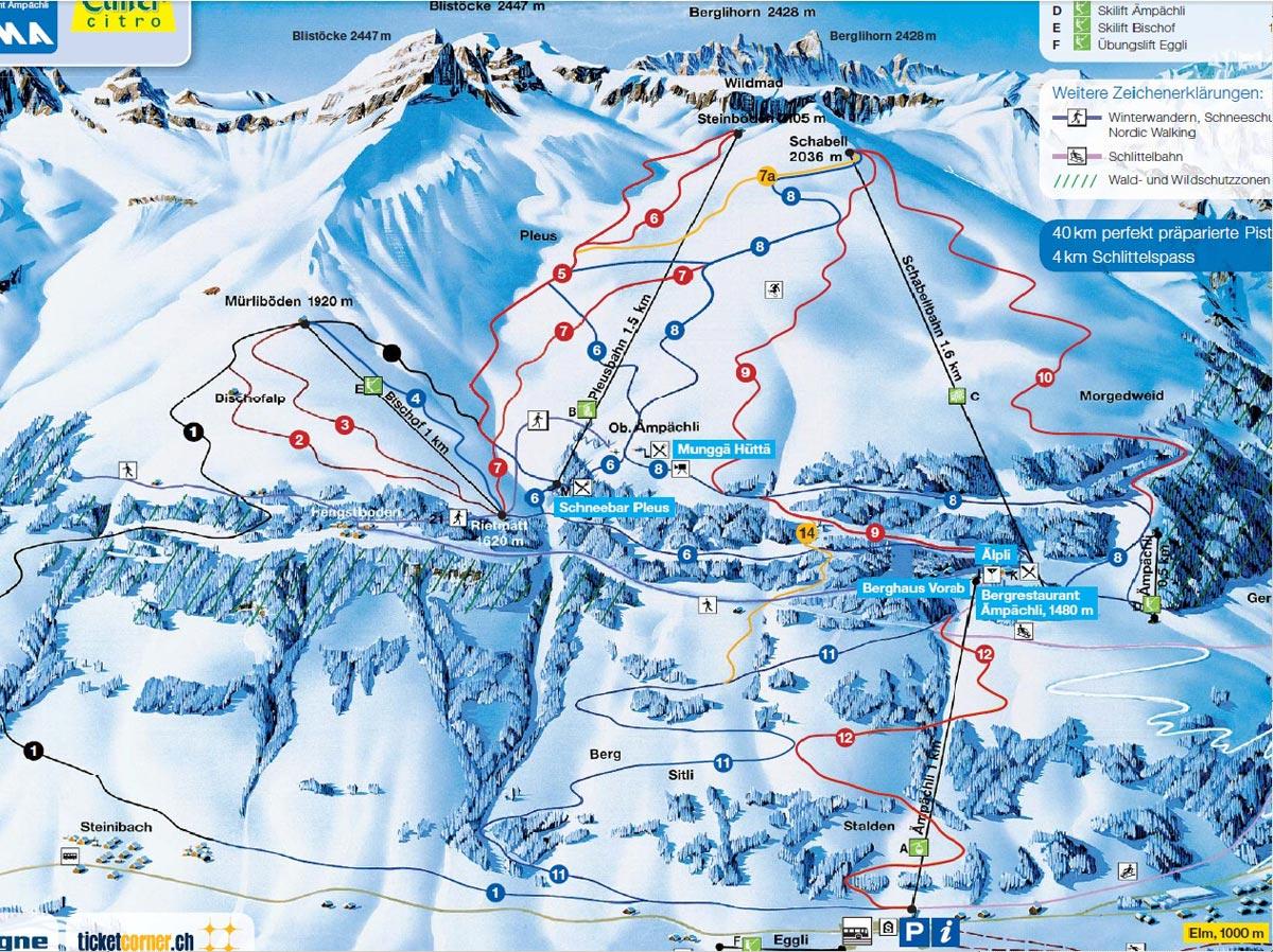 Схема трасс горнолыжного курорта Эльм