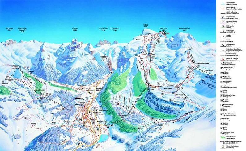 Схема трасс горнолыжного курорта Энгельберг