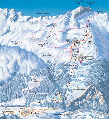 Схема трасс горнолыжного курорта Эволен