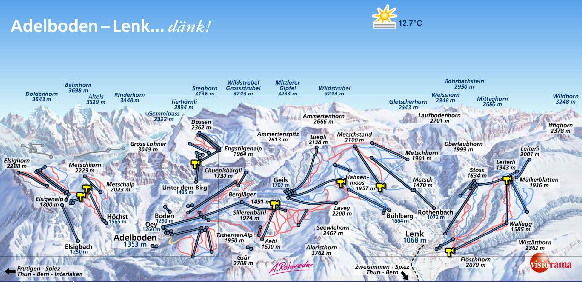 Схема трасс горнолыжного курорта Фрютиген