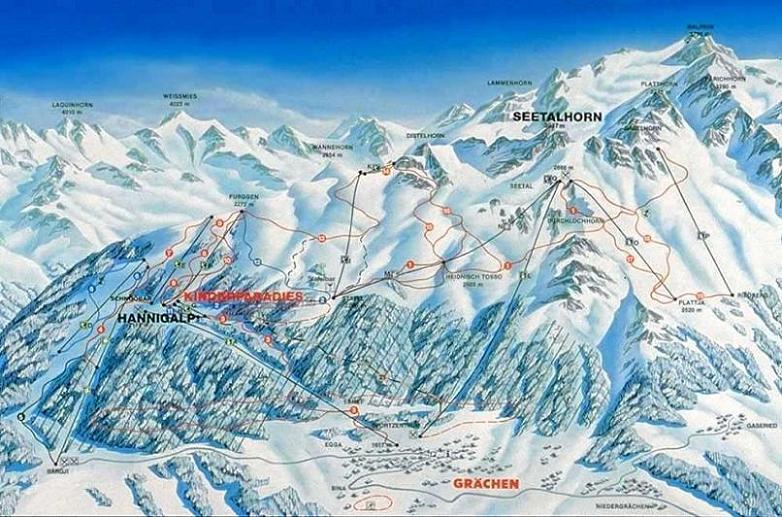 Схема трасс горнолыжного курорта Грехен