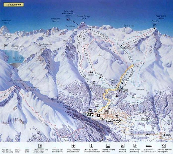 Схема трасс горнолыжного курорта Грименц Зиналь