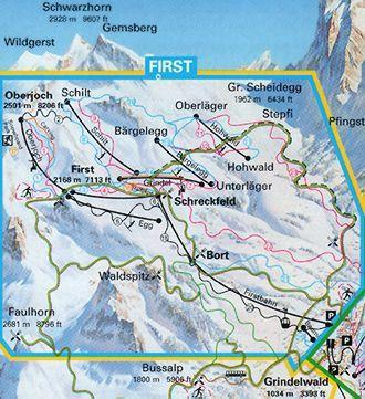 Схема трасс горнолыжного курорта Гриндельвальд - Фёрст