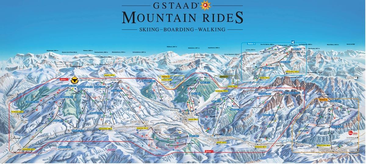 Схема трасс горнолыжного курорта Гштаад - Глетчер 3000