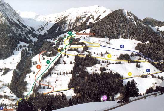 Схема трасс горнолыжного курорта Кинталь