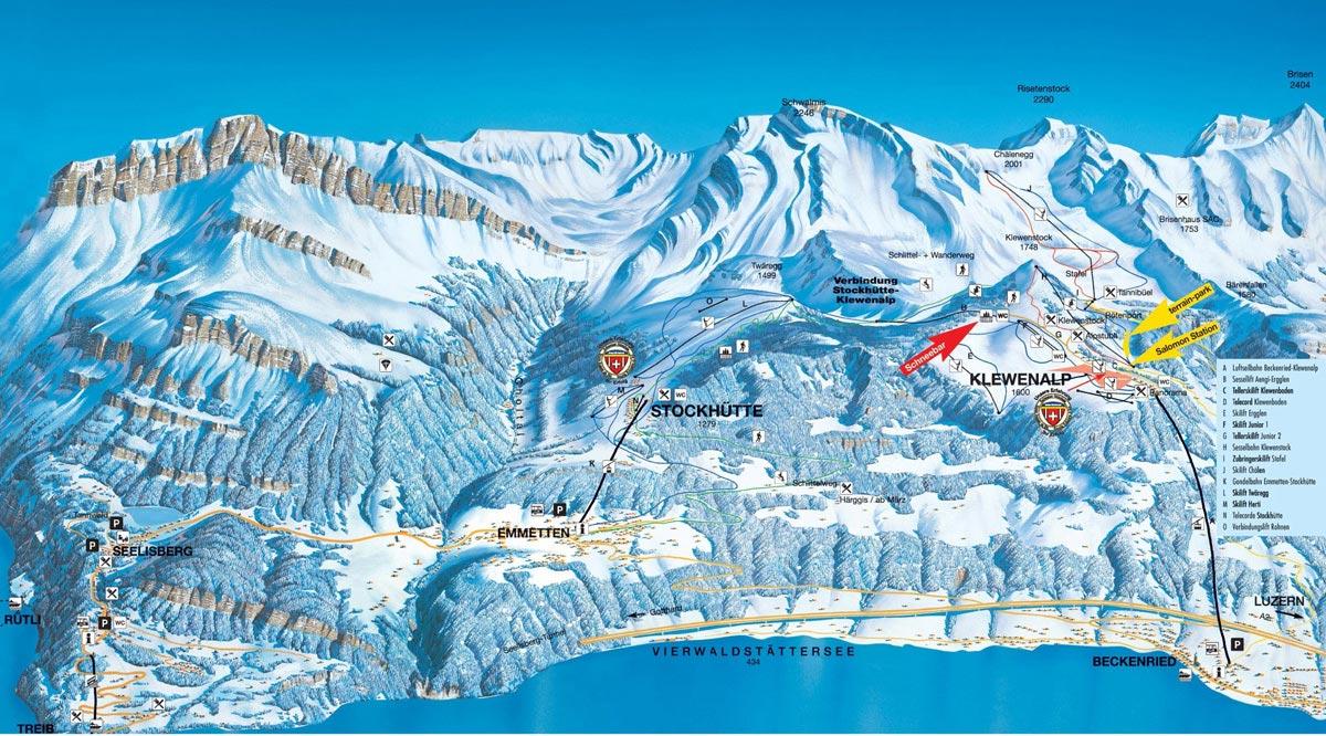 Схема трасс горнолыжного курорта Беккенрид - Кляйвенальп