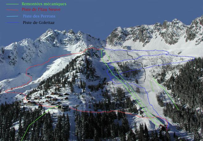 Схема трасс горнолыжного курорта Ле Маррекотт - Салван