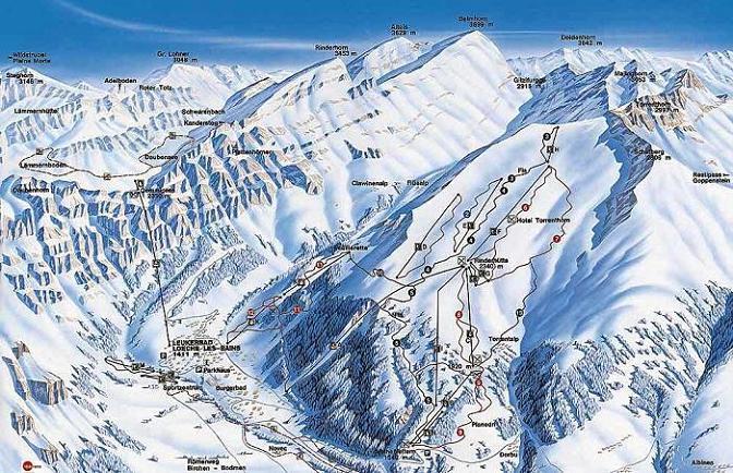 Схема трасс горнолыжного курорта Лейкербад