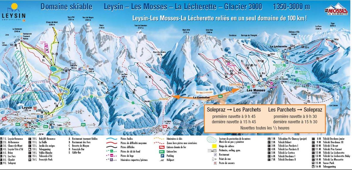 Схема трасс горнолыжного курорта Лейсин