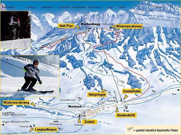Схема трасс горнолыжного курорта Марбах