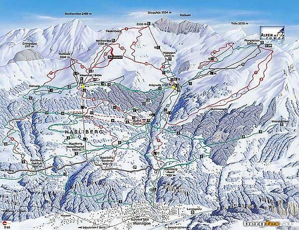 Схема трасс горнолыжного курорта Майринген - Хаслиберг