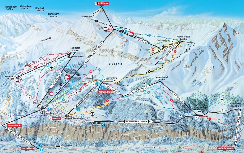 Схема трасс горнолыжного курорта Мюррен - Шильтхорн