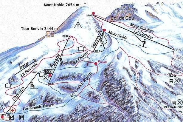 Схема трасс горнолыжного курорта Накс