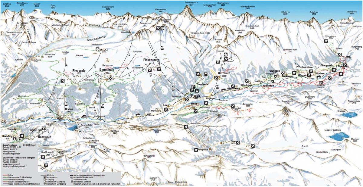 Схема трасс горнолыжного курорта Обергомс