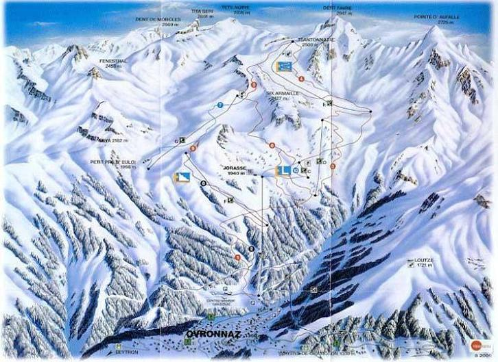 Схема трасс горнолыжного курорта Овронна