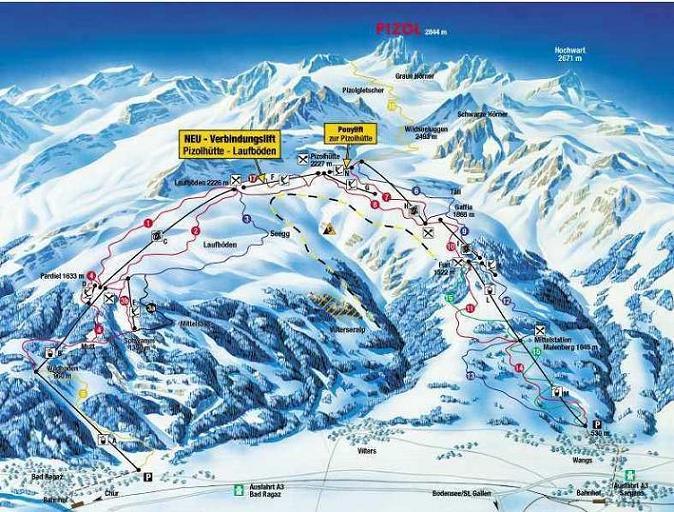 Схема трасс горнолыжного курорта Пизоль - Хайдиланд