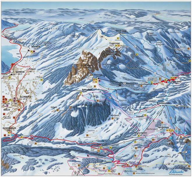 Схема трасс горнолыжного курорта Швиц - Роттенфлах (Мифен)
