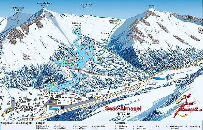 Схема трасс горнолыжного курорта Саас Альмагель