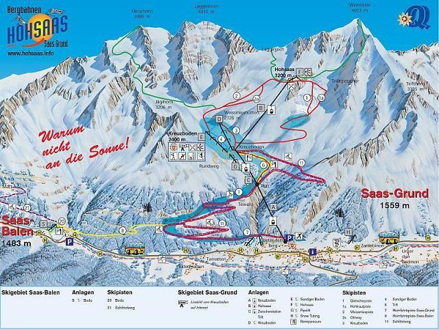 Схема трасс горнолыжного курорта Саас Грунд