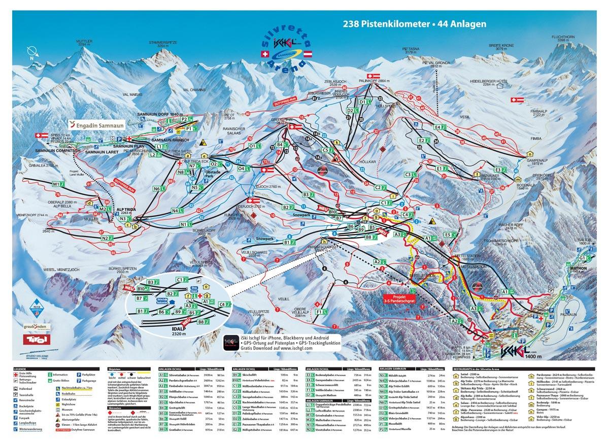 Схема трасс горнолыжного курорта Самнаун