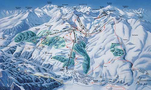 Схема трасс горнолыжного курорта Скуоль